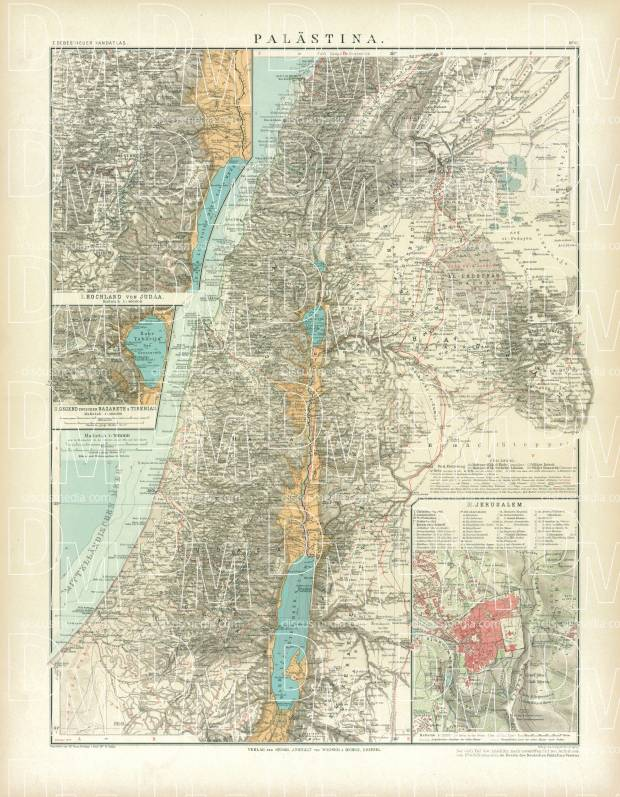 Old Map Of Palestine In 1905 Buy Vintage Map Replica Poster Print