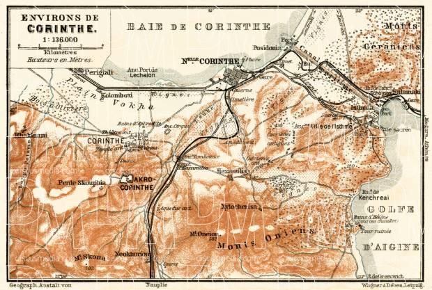 Old Map Of Corinth Korinthos In 1908 Buy Vintage Map Replica