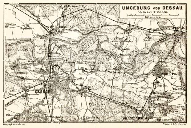 Old map of Dessau vicinity in 1911 Buy vintage map replica poster