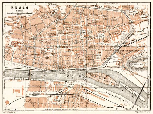 Old map of Rouen in 1909. Buy vintage map replica poster print or ...