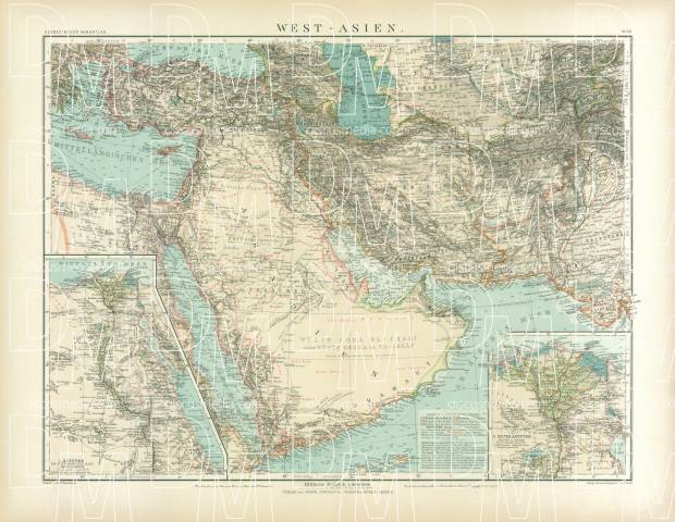 Old Map Of The Middle East With Egypt In Buy Vintage Map - Vintage map of egypt