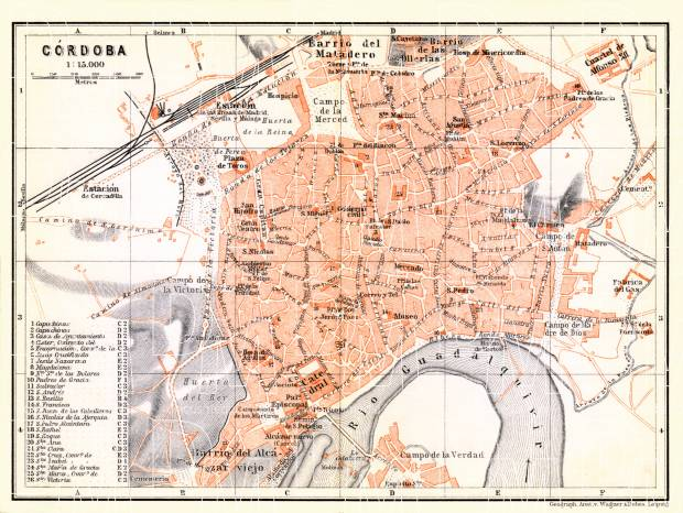 Old map of Crdoba in 1899 Buy vintage map replica poster print or