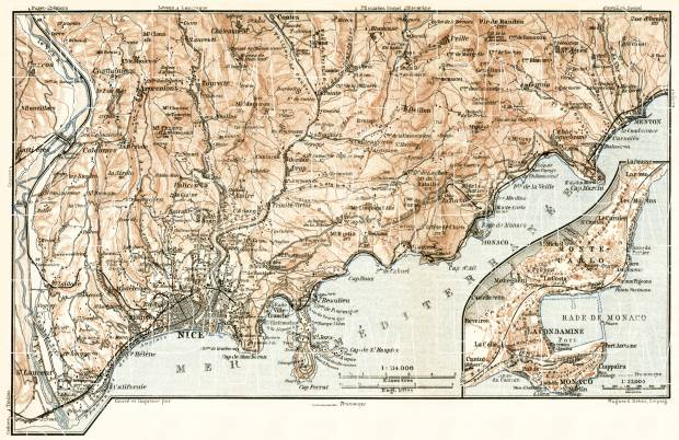 Old map of Nice Menton and vicinities with Monaco and Monte Carlo