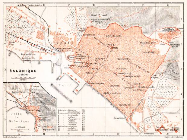 Old map of thessaloniki selanik vicinityof thessaloniki selanik city map 1905 environs of thessaloniki use gumiabroncs Image collections