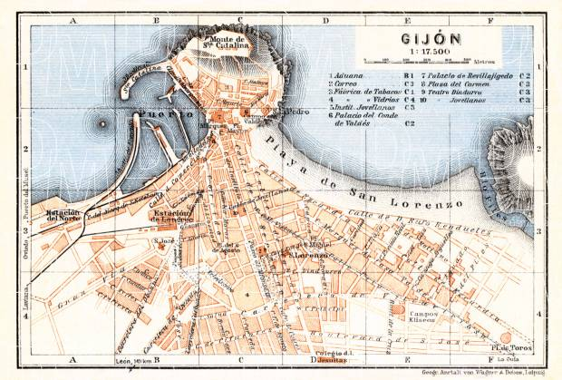 Old map of Gijn in 1929 Buy vintage map replica poster print or