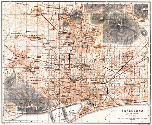 Old map of Barcelona in 1899 Buy vintage map replica poster print
