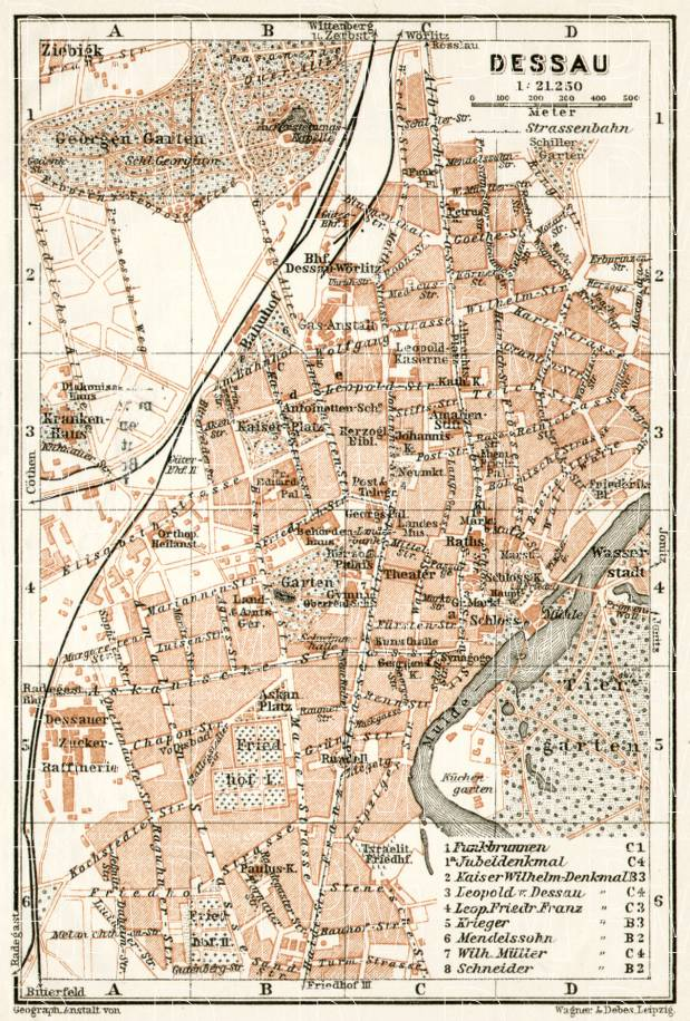 Old map of Dessau in 1911 Buy vintage map replica poster print or