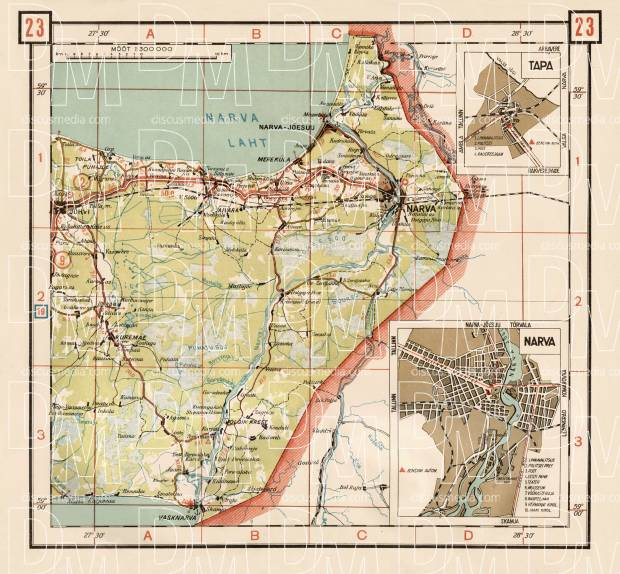 Old map of the northeast Estonia along Narva River in 1938 Buy