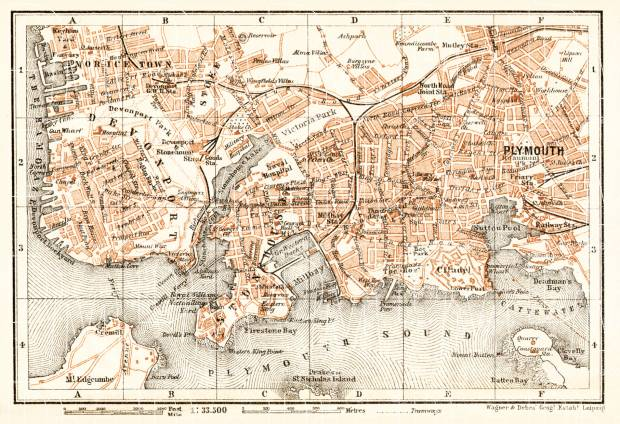Old map of Plymouth in 1906 Buy vintage map replica poster print or