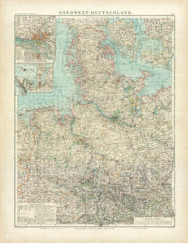 Old Map Of The Northwestern Provinces Of Germany In 1905 Buy
