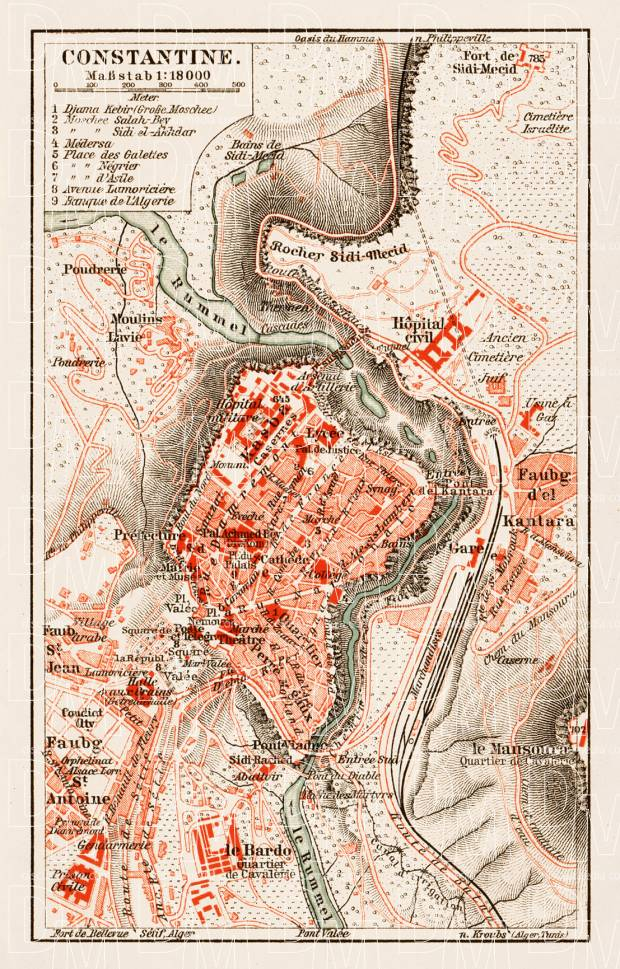 Old map of Constantine in 1913 Buy vintage map replica poster print