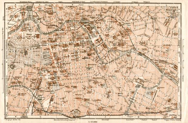 Old Map Of Berlin Center In Buy Vintage Map Replica Poster - Map of berlin city centre