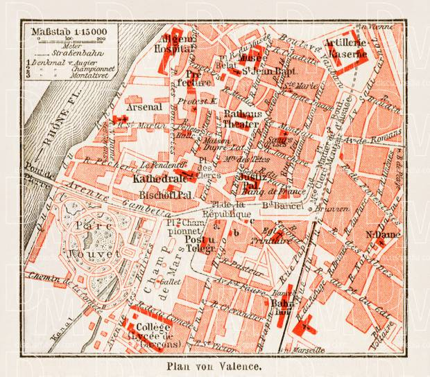 Old map of Valence in 1913 Buy vintage map replica poster print or