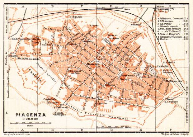 Old Map Of Piacenza Placentia In 1908 Buy Vintage Map Replica