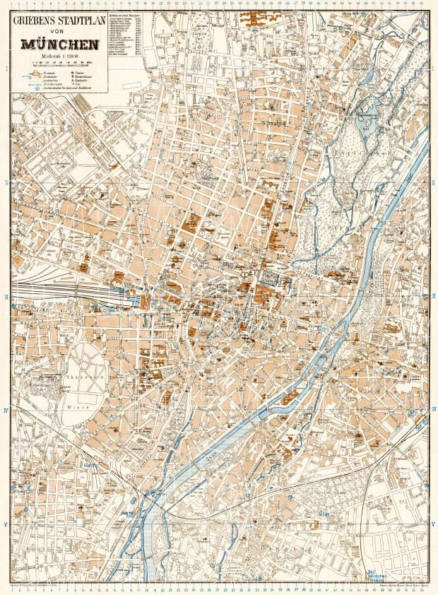 old map of munich m nchen in 1928 buy vintage map replica poster print or download picture. Black Bedroom Furniture Sets. Home Design Ideas