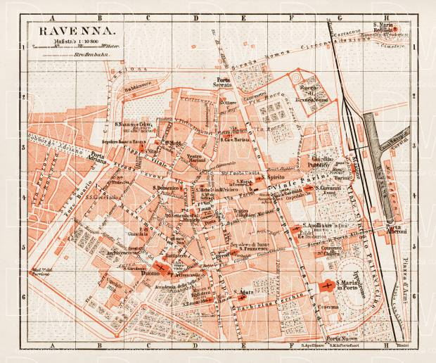 Old map of Ravenna in 1903 Buy vintage map replica poster print or