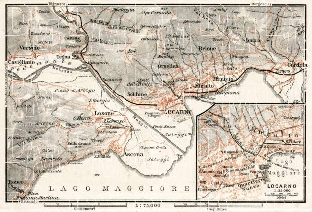 Old map of Locarno and vicinity in 1909. Buy vintage map replica ...