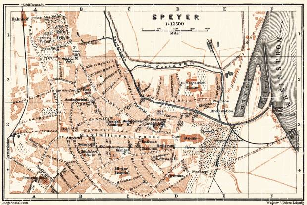 Old Map Of Speyer In 1905 Buy Vintage Map Replica Poster Print Or