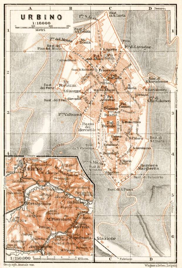 Old Map Of Urbino And Vicinity In 1909 Buy Vintage Map Replica
