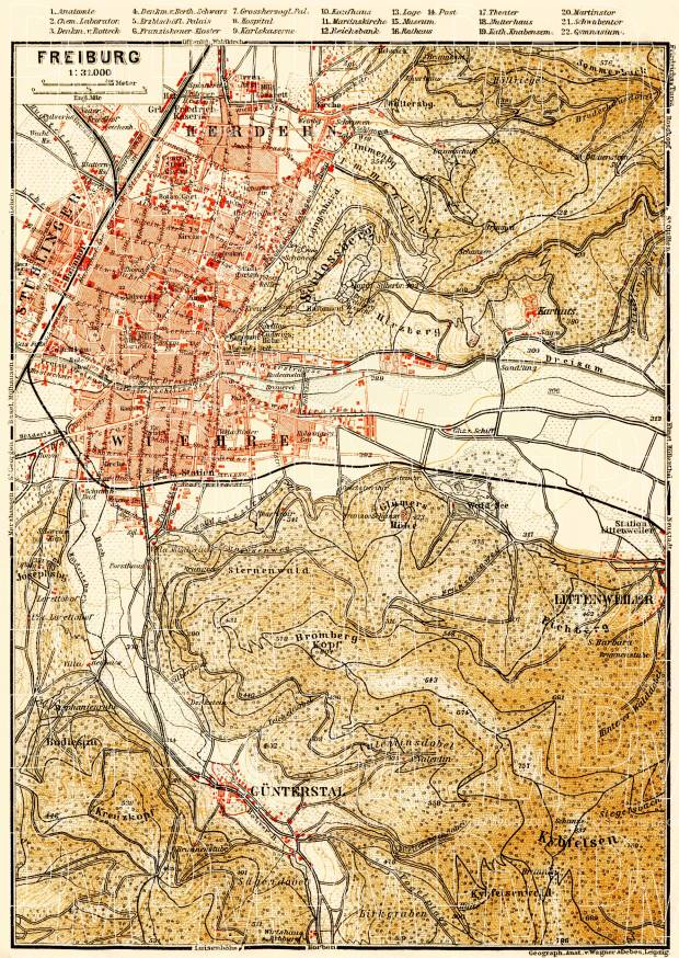 Old map of Freiburg vicinity in 1908 Buy vintage map replica poster