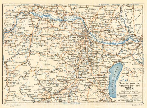 Old Map Of Vienna Environs In Buy Vintage Map Replica Poster - Road map of austria