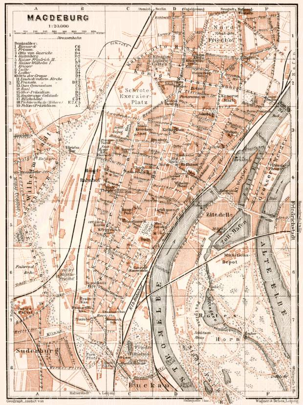 Old Map Of Magdeburg In 1911 Buy Vintage Map Replica Poster Print
