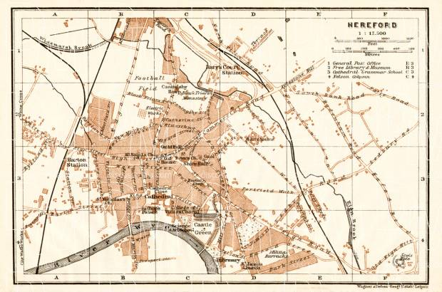 Old map of Hereford in 1906 Buy vintage map replica poster print or