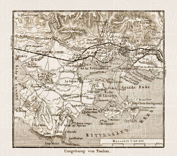 Old map of Toulon viocinity in 1913 Buy vintage map replica poster
