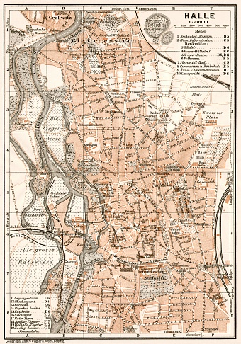 Halle (Saale) city map, 1911