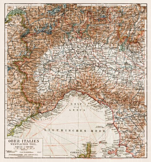 Map Of North West Italy.Old Map Of Northwest Italy In 1903 Buy Vintage Map Replica Poster