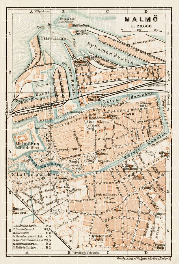 Old map of Malm in 1929 Buy vintage map replica poster print or