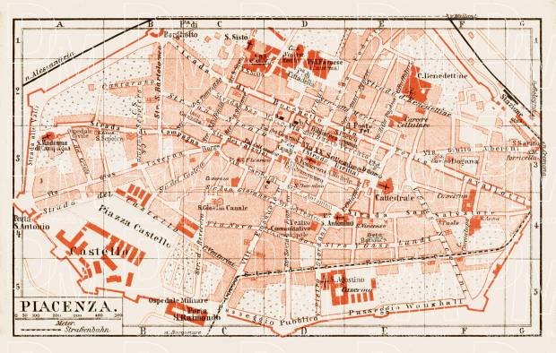 Old Map Of Piacenza Placentia In 1903 Buy Vintage Map Replica