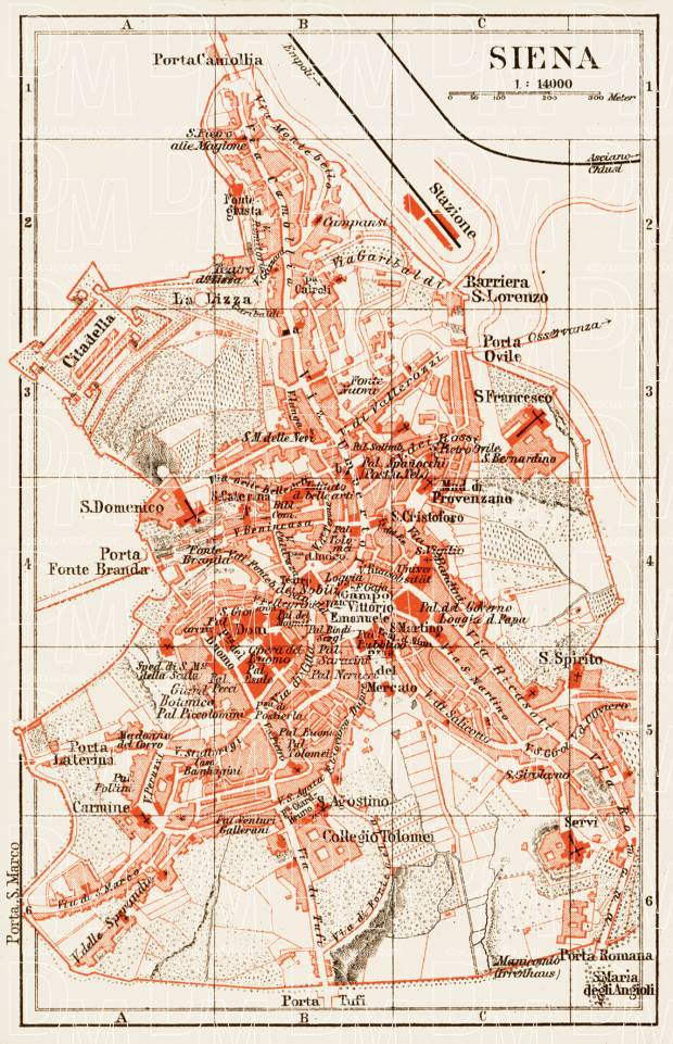 Old Map Of Siena In 1903 Buy Vintage Map Replica Poster Print Or