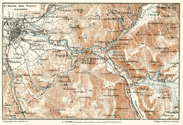 Old map of Terni vicinity in 1909 Buy vintage map replica poster
