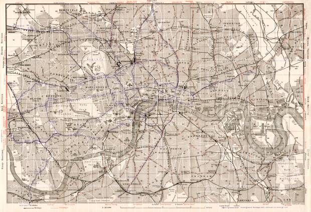 london city map with tram and tube network 1909 use the zooming tool
