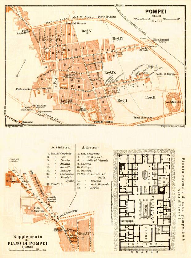 Old map of Pompei Pompeii with typical street level plate in 1929