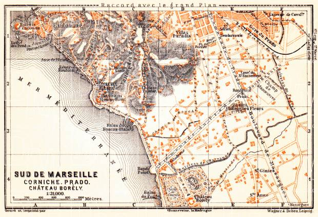 Old map of South Marseille in 1900 Buy vintage map replica poster