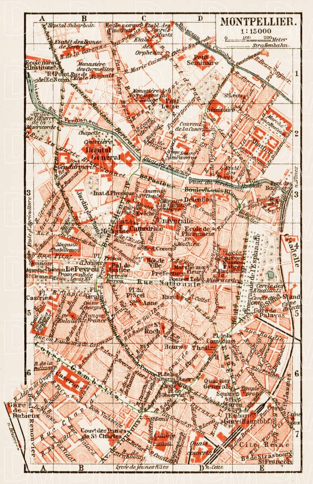 Old map of Montpellier in 1913 Buy vintage map replica poster print