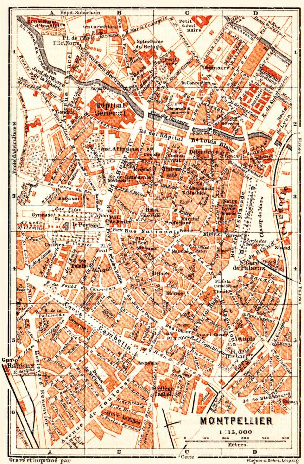 Old map of Montpellier in 1900 Buy vintage map replica poster print