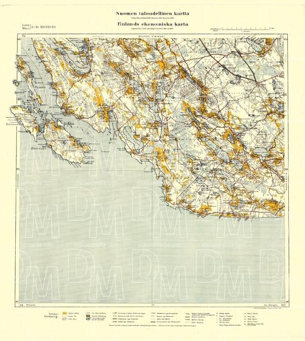 Old Map Of Koivisto Primorsk And Vicinity In 1922 Buy Vintage