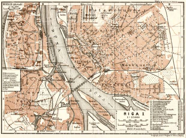 Old map of Riga in 1914 Buy vintage map replica poster print or