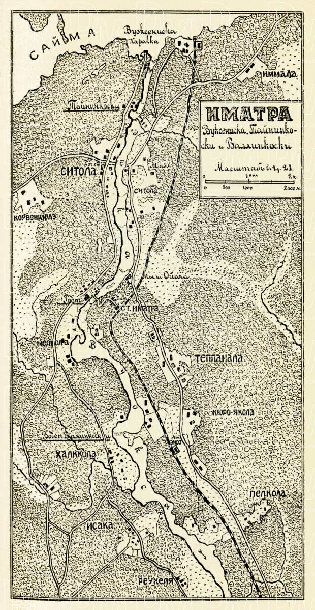 Old map of Imatra and nearer vicinity in 1899 Buy vintage map