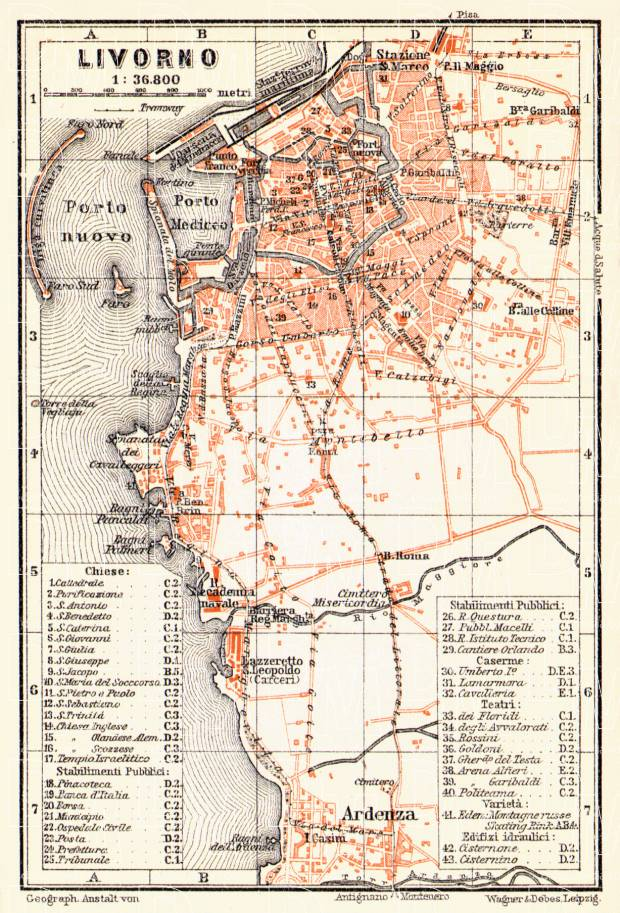 Old map of Leghorn Livorno in 1908 Buy vintage map replica poster
