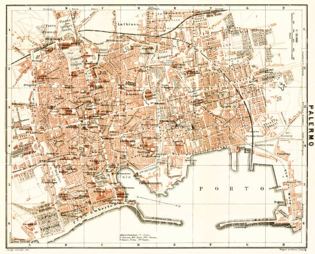 Old Map Of Palermo In 1912 Buy Vintage Map Replica Poster Print Or