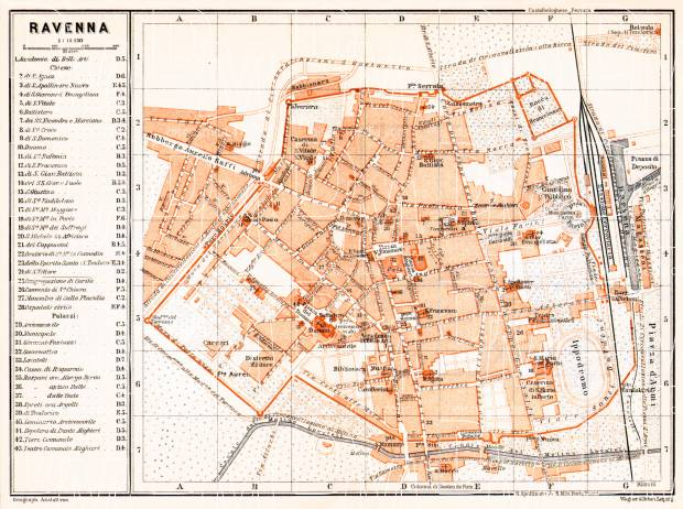 Old map of Ravenna in 1908 Buy vintage map replica poster print or