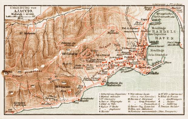 Old map of Ajaccio vicinity in 1913 Buy vintage map replica poster