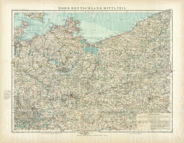 Old map of the Northern provinces of Germany in 1905 Buy vintage