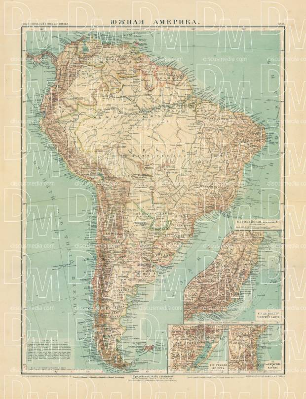Old map of the South America in 1910 Buy vintage map replica