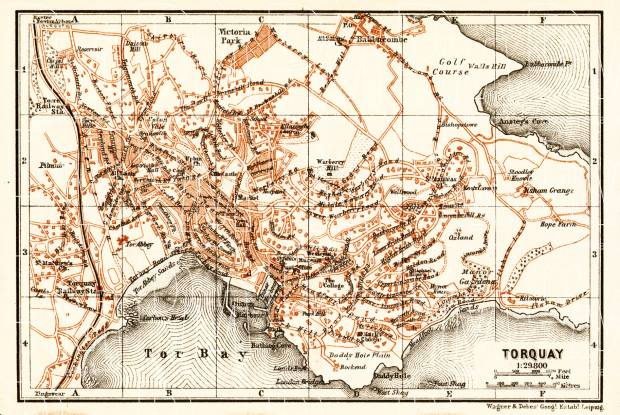 Old map of Torquay in 1906 Buy vintage map replica poster print or