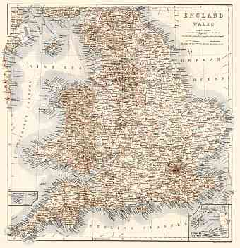 England and Wales map, 1906